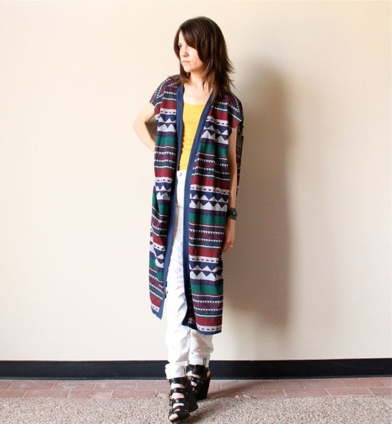 80s Navajo Tribal Print Vest - vintage oversized open front long layering duster tee, heather grey jersey with navy blue, hunter green, wine