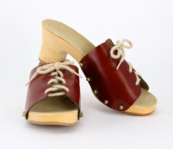 70s Platform Sandals Set - vintage leather gladiator slides, jute rope lace up mules, hippie boho resort, oxblood, lime green, taupe, brown
