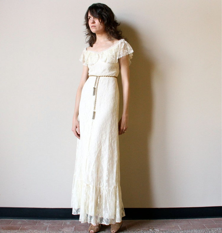 70s Boho Wedding Dress Vintage Off White Ivory By