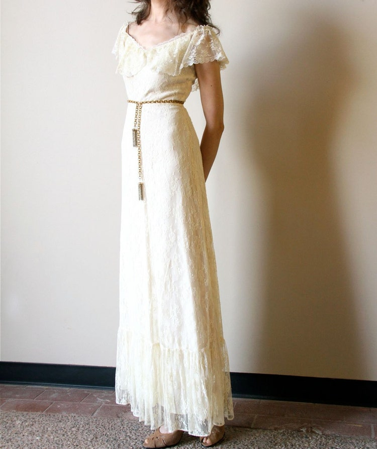 Wedding Dress White Vs Off White: 70s Boho Wedding Dress Vintage Off White Ivory By