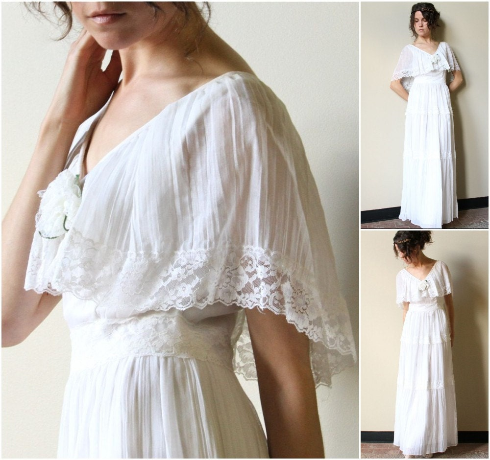 Reserve 70s hippie wedding dress vintage boho peasant maxi for Hippie vintage wedding dresses