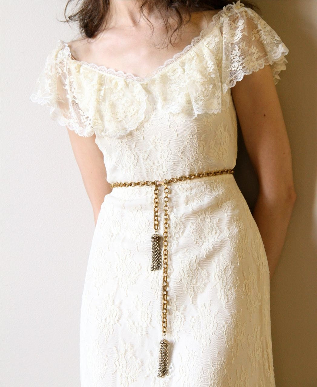 70s boho wedding dress vintage off white ivory cream lace for Bohemian white wedding dress