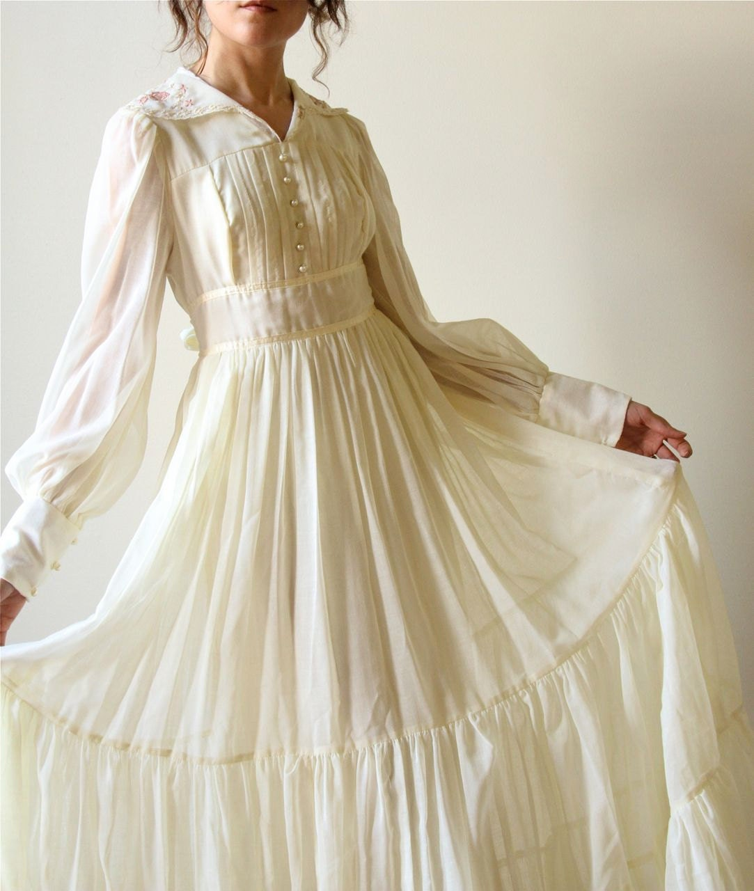 70s gunne sax boho wedding dress vintage ivory bone Hippie vintage wedding dresses
