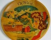 Vintage Norwegian Hand Painted Wooden Bowl