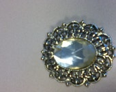 Silver Brooch with Large Rhinestone