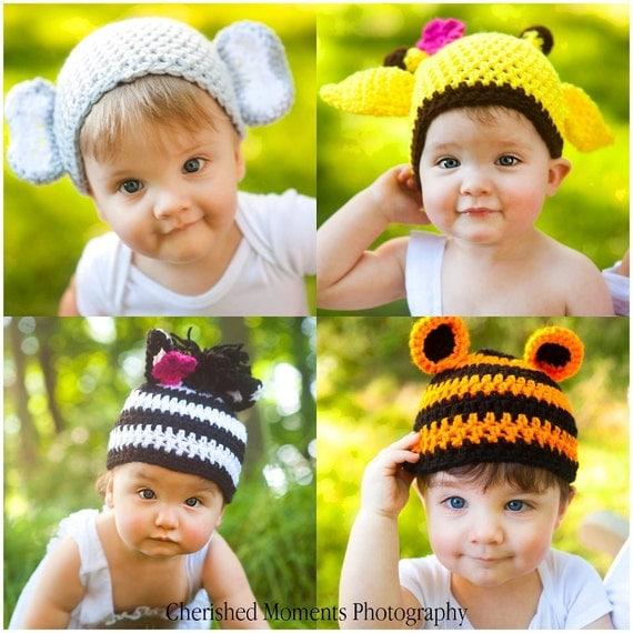 Crochet PATTERN for Zoo Hats - Giraffe, Elephant, Tiger & Zebra