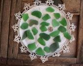 G E N U I N E green sea glass LOT of 25