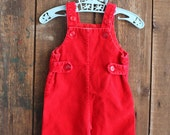 Baby clothes-red bib overalls size 0-3 months
