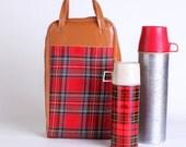 Plaid thermos holder bag