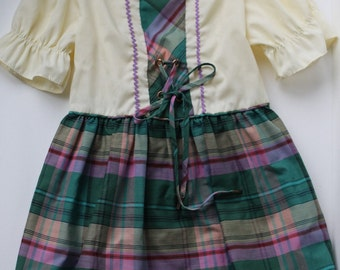 Vintage Girls Baverian Style Plaid Dress
