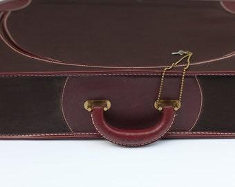 Vintage Maroon Suitcase, Top Zipper Case, Wedding Card Box