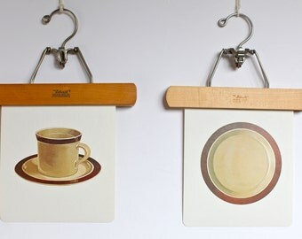 Large vintage language flash card set, dishes,1980s