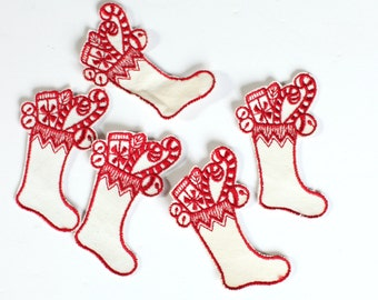 Sewing Appliques-red and white christmas stockings