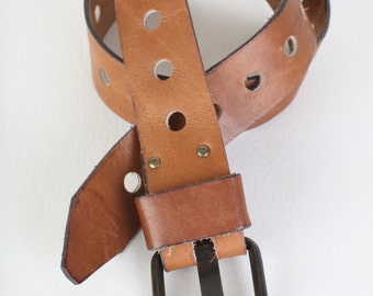 Distressed brown leather belt, size small