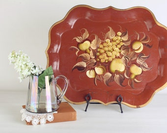 Large tole floral tray