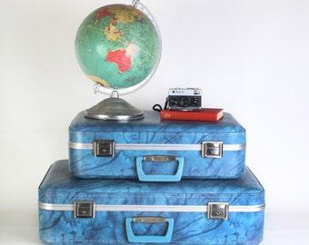 Vintage Blue Suitcase Set  Wedding Card Cases