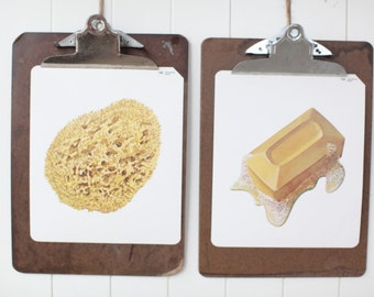 Large vintage language flash card set, soap and sponge,1980s