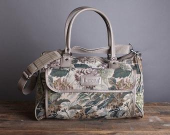 Vintage Floral Tapestry Duffle Bag