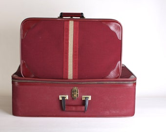 Vintage Small Oxblood Striped Suitcase