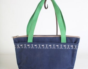 Vintage blue canvas shoulder bag tote by Wild Duck