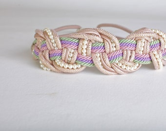 Women's Pink Woven Braided Belt