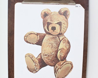 Large vintage language flash card, teddy bear, 1980's