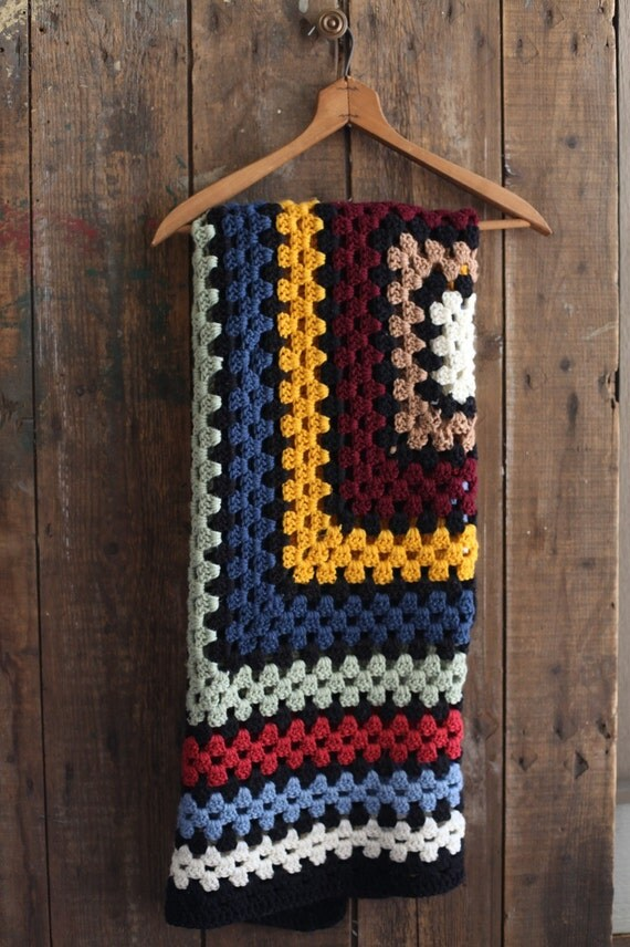 Colorful crocheted blanket, small square lap blanket