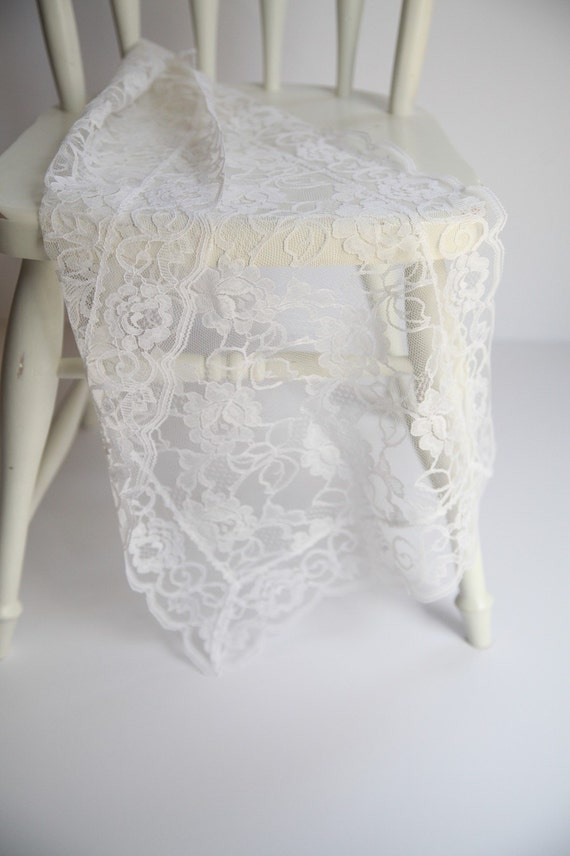 Small white lace table runner