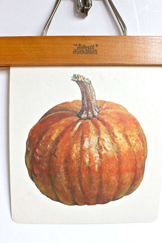 Large vintage language flash card, pumpkin, 1980's