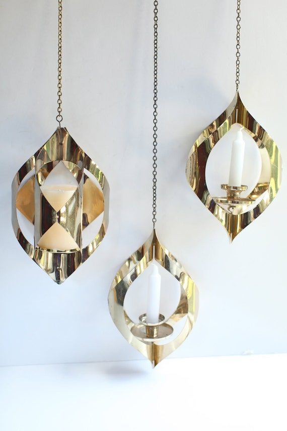 Mid century modern gold metal hanging candle holders, set of three