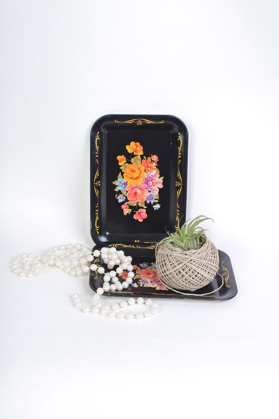 Small black floral trays, set of two