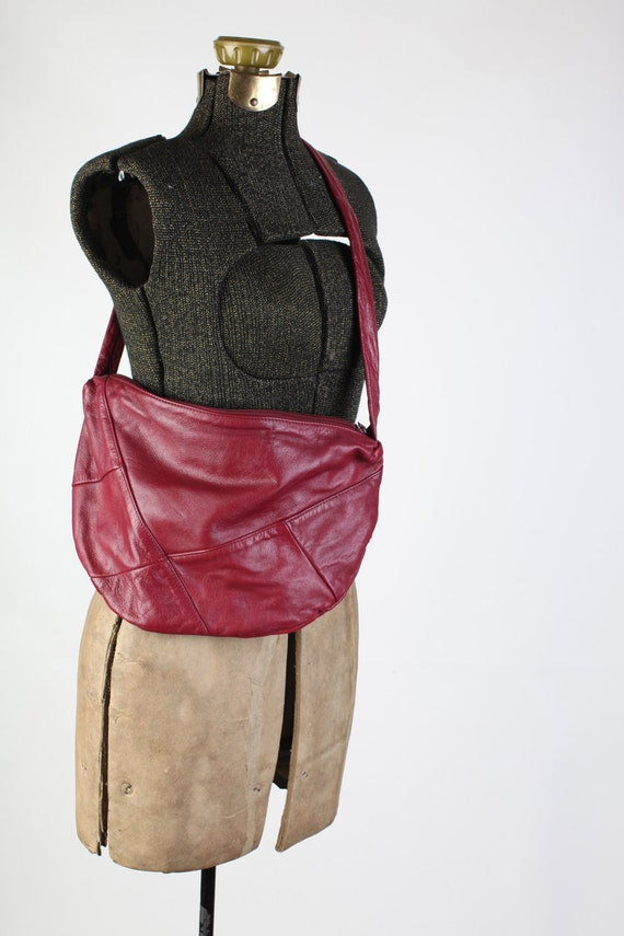 Vintage oxblood leather patchwork purse