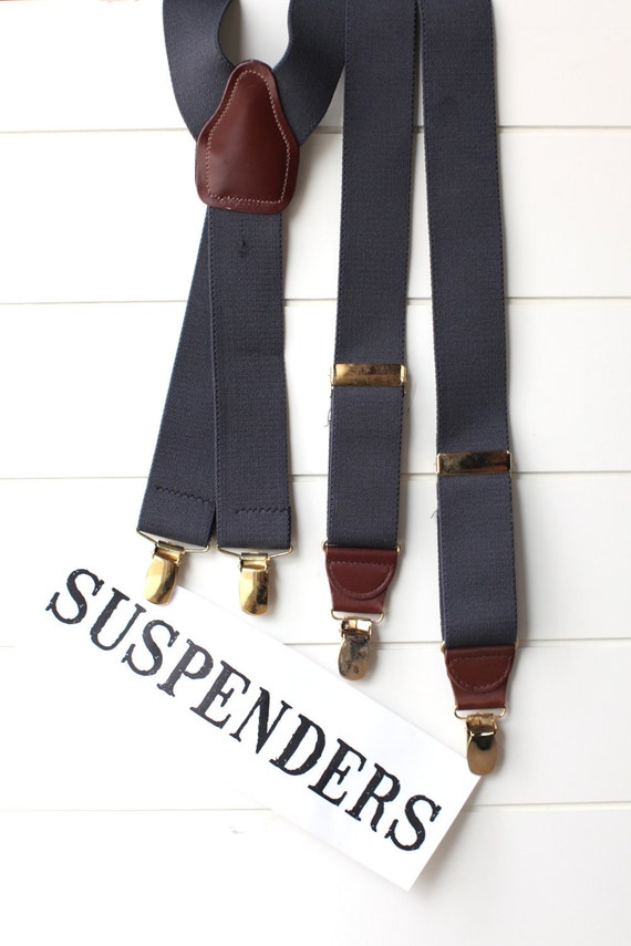 Men's vintage grey suspenders