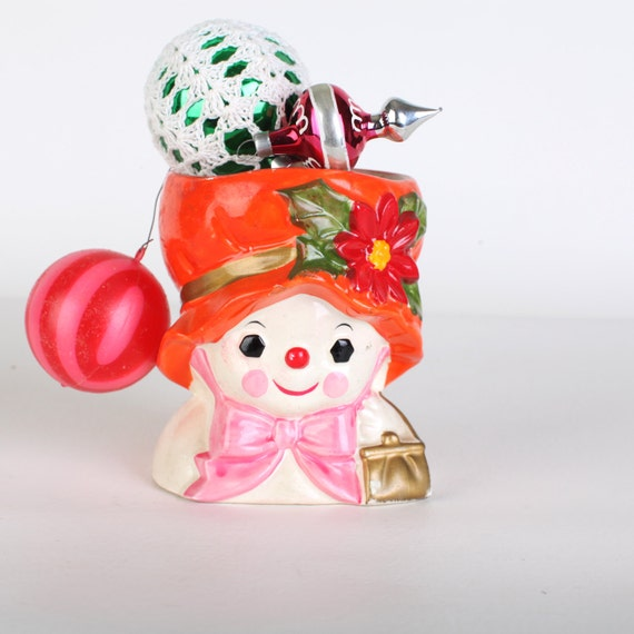 Snow women ceramic candleholder
