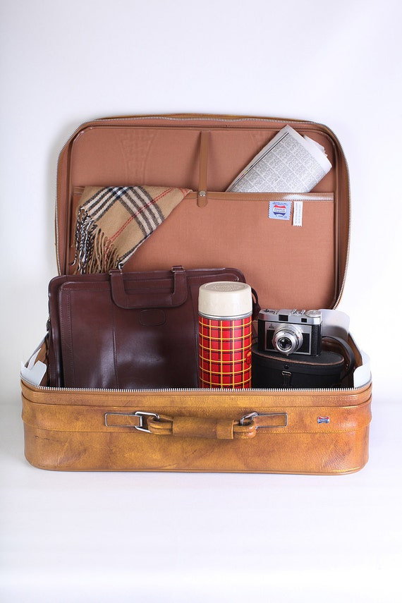Butterscotch brown American Tourister large suitcase