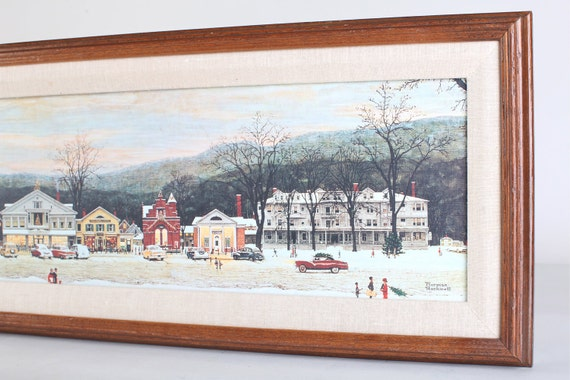 Framed and matted Norman Rockwell canvas,  The town of Stockbridge, winter scene