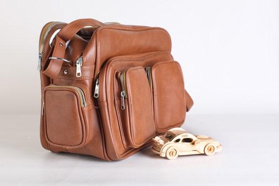 Brown faux leather messenger/tote bag, vinyl shoulder bag