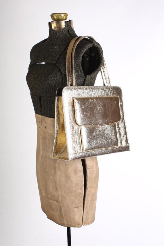 Vintage large metallic gold 1960s handbag