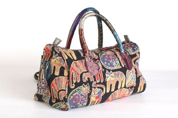 Black tapestry purse, cats, Laurel Burch