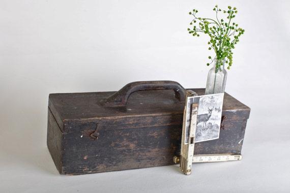 Vintage Primitive Black Wooden Carpenter's Box