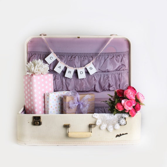 Large white suitcase, flat stackable suitcase, wedding card box