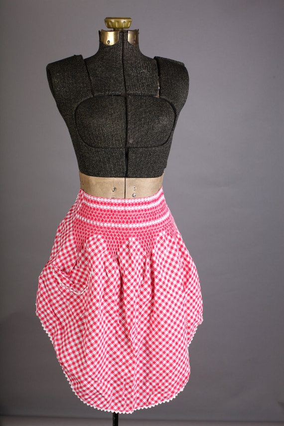 Red and white gingham half apron, smocked apron