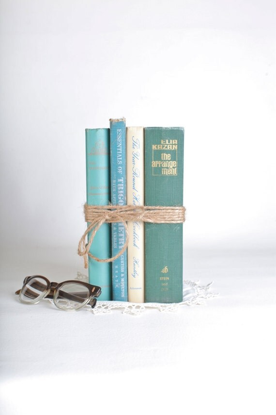 Home decor book set, greens and blues, set of four