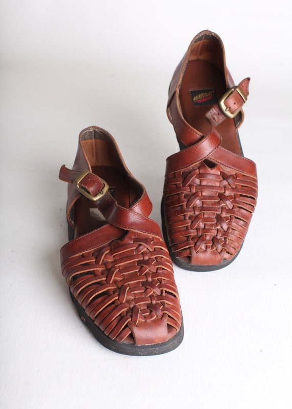 Size 8.5 Women's brown leather hurache sandals, brown loafers, weaved leather flats
