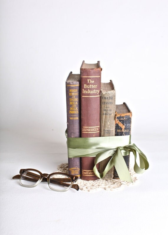 RESERVED Home decor book set, neutrals, set of four