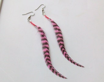 Hot Pink and Black Tiger Stripe Fly Fishing Feather Earrings - 5 Inches Long