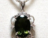 "Moldavite Accent Pendant set in solid sterling w/ 18"" sterling silver cable chain gifts for her   ""Meteor Shower"""
