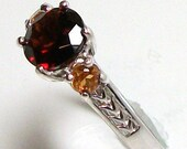 "Tanga Garnet with spessertite garnet accents ring s7 custom hand set in sterling silver gifts for her ""Tango Nights"""