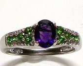"Amethyst and chrome diopside accent ring s7 hand set in sterling silver gifts for her  ""Petite Chic"""