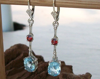 "Custom order only - Blue Topaz Dangle  Earrings - w/ Garnet Accents - Lever Back - Design  - set in solid Sterling Silver -   ""Blue Hawaii"""